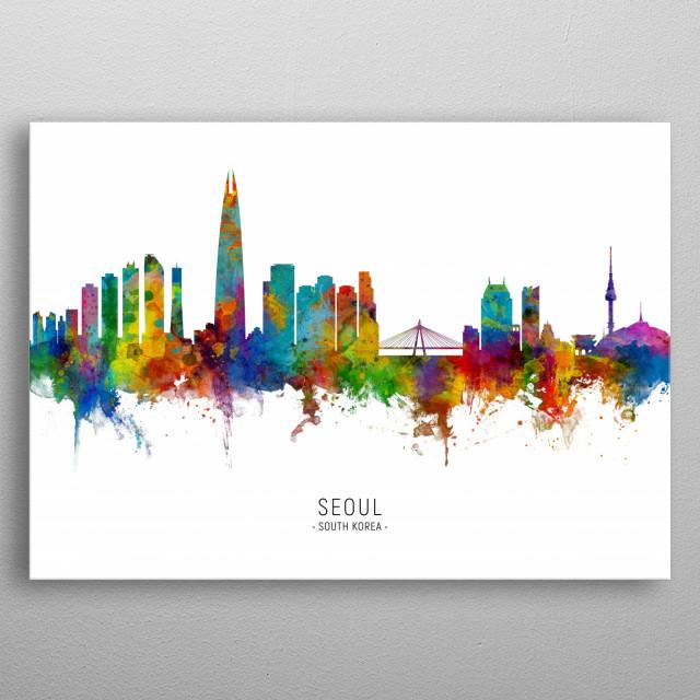 Watercolor art print of the skyline of Seoul, South Korea metal poster