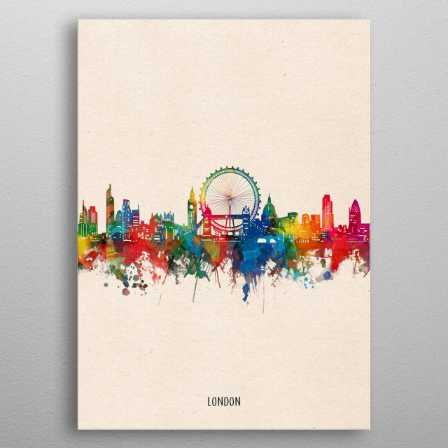 London skyline inspired by decorative,watercolor,colorful,pop art design metal poster