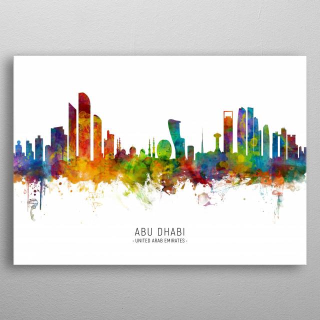 Watercolor art print of the skyline of Abu Dhabi, United Arab Emirates metal poster