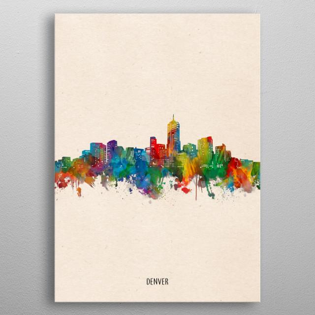 Denver skyline inspired by decorative,watercolor,colorful,pop art design metal poster