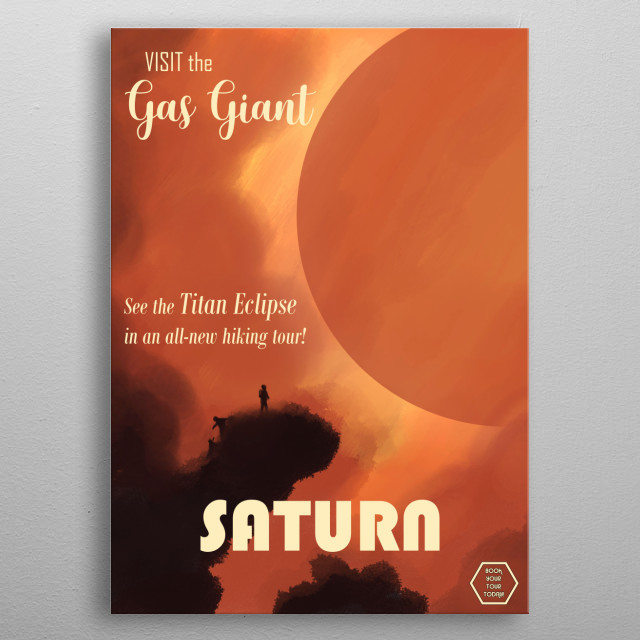 Saturn travel poster for the near future. metal poster