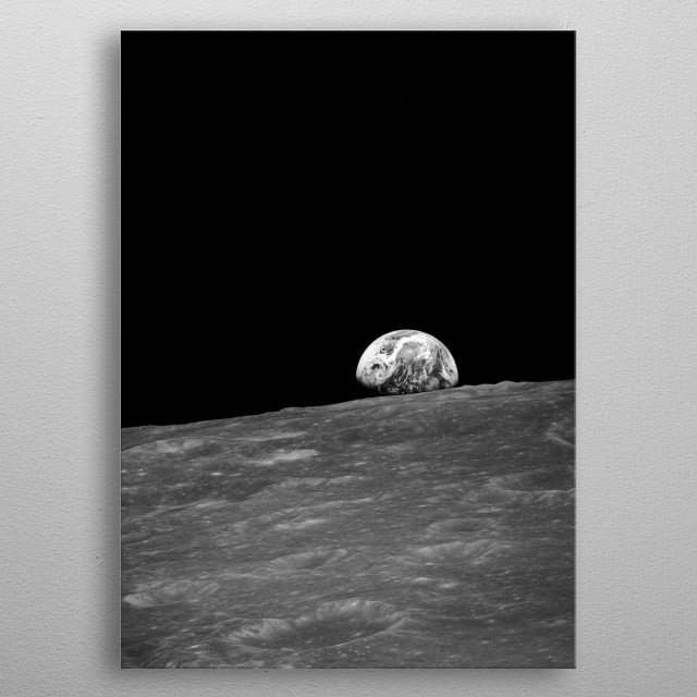 """The picture right before the famous """"Earthrise"""" in original black and white. metal poster"""