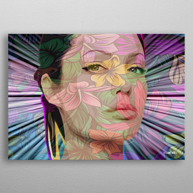 Computer graphic art print image file of angelina in geometric colorful floral style. metal poster
