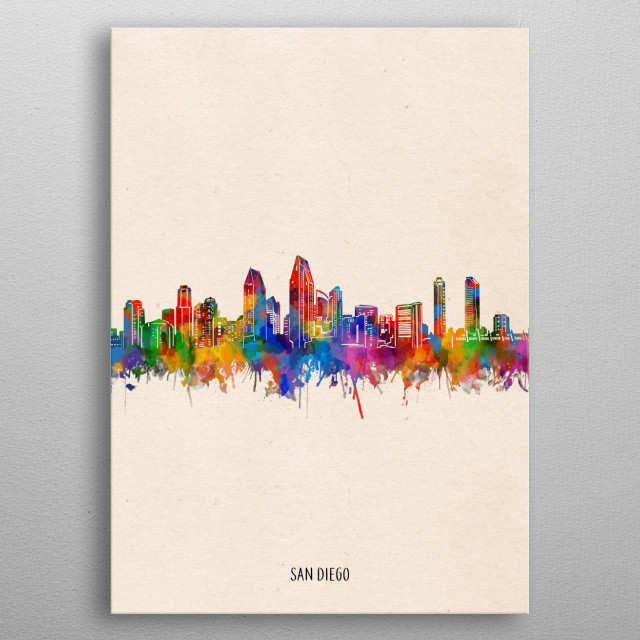 San Diego skyline inspired by decorative,watercolor,colorful,pop art design metal poster