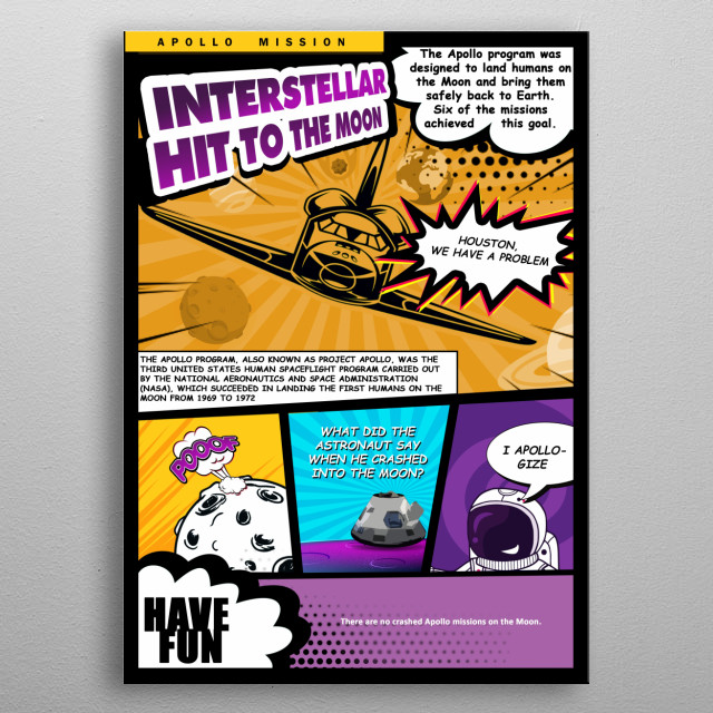 Fun comics style for apollo missions  metal poster