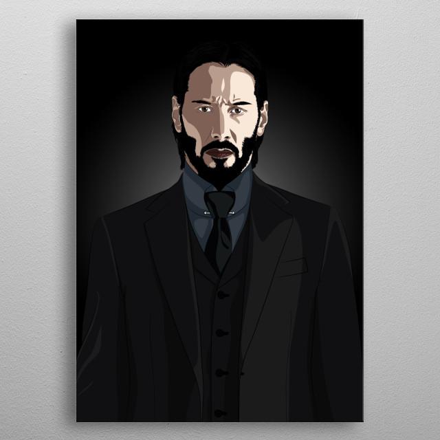 JohnWick / John Wick Keanu Reeves, Illustration Portrait,  metal poster