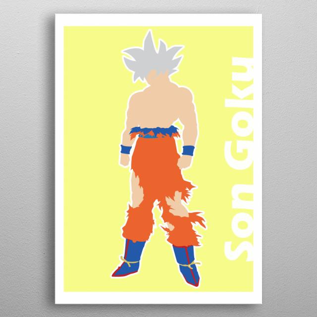Illustration minimalist of Son goku metal poster