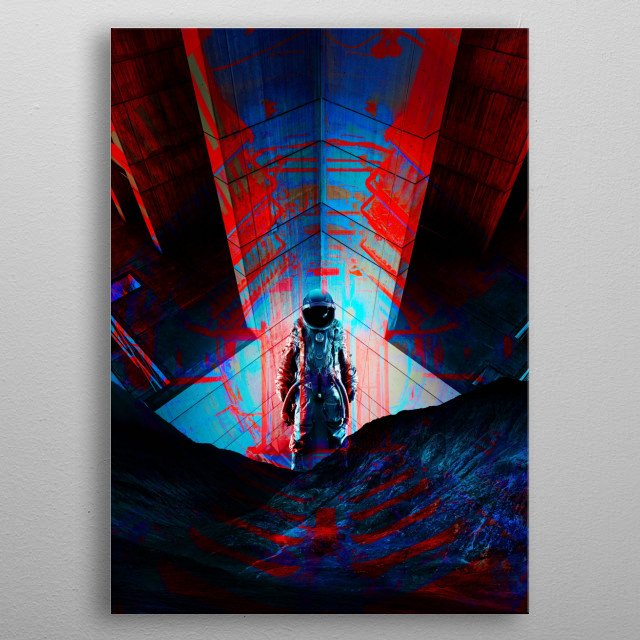 A science fiction image of a spaceman on an abandoned spaceship in blue and red. metal poster