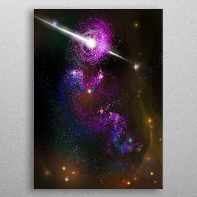 A  Science Fiction cosmic illustration full of stars and a spark of life. Inspired by 2001: A Space Odyssey. metal poster