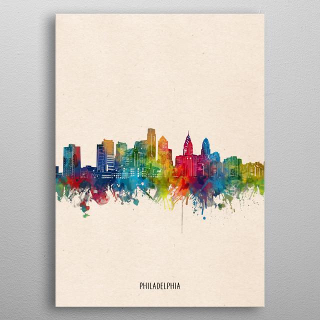 Philadelphia skyline inspired by decorative,watercolor,colorful,vintage,pop art design metal poster