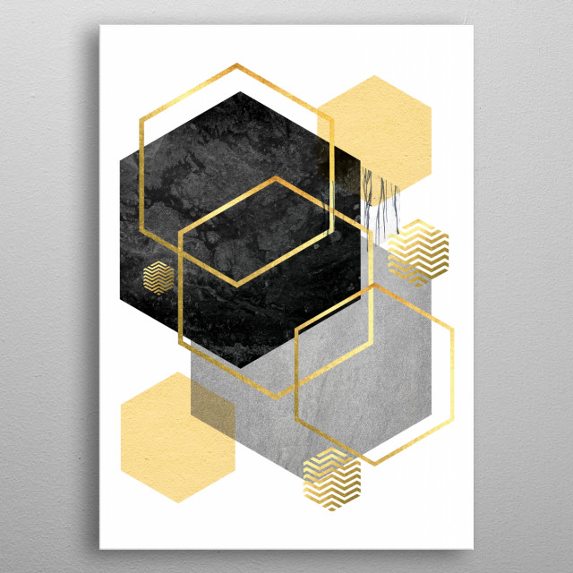 Modern geometric design in yellow, black + grey with gold accents metal poster