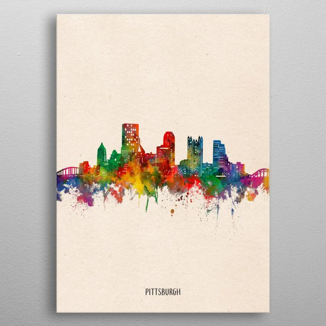 Pittsburgh skyline inspired by decorative,watercolor,colorful,vintage,pop art design metal poster
