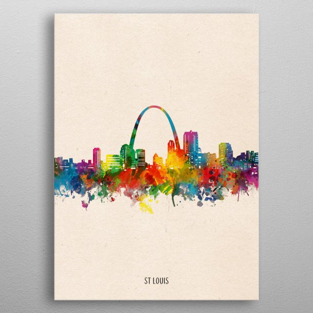 St Louis skyline inspired by decorative,watercolor,colorful,pop art design metal poster