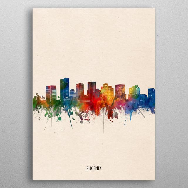 Phoenix skyline inspired by decorative,watercolor,colorful,vintage,pop art design metal poster
