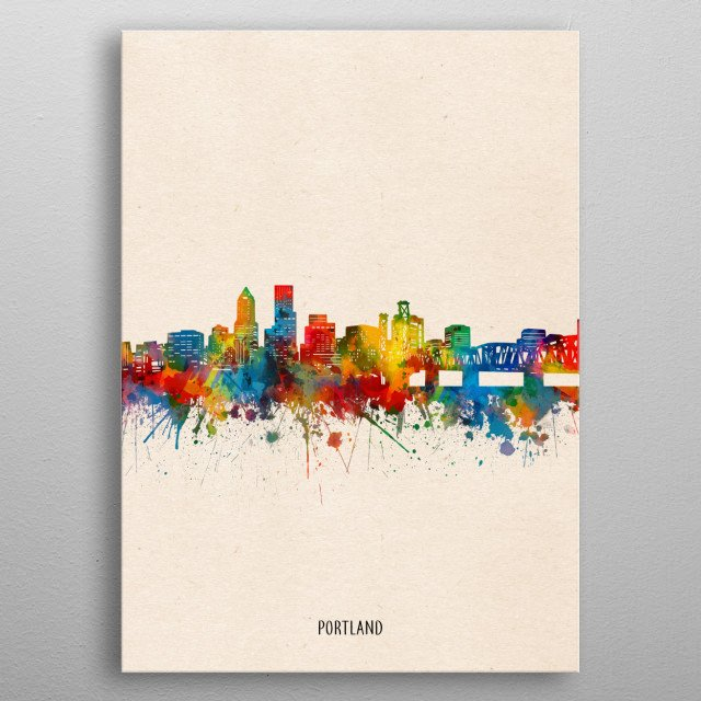 Portland skyline inspired by decorative,watercolor,colorful,pop art design metal poster