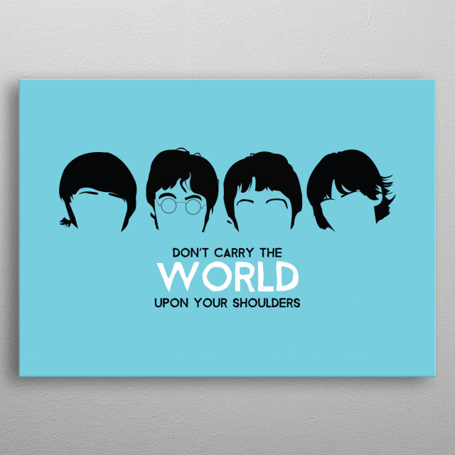 Iconic Liverpool band The Beatles in minimalistic style with lyrics from Hey Jude. Inspirational quote. metal poster