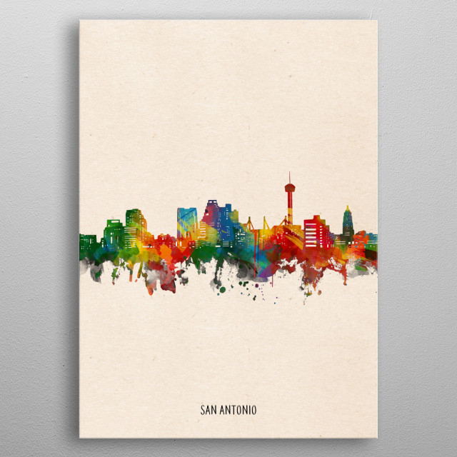 San Antonio skyline inspired by decorative,watercolor,colorful,pop art design metal poster
