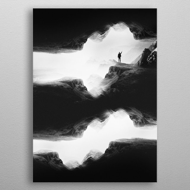 Mysterious black and white flipped Rock landscape. A man searching for clear vision but he is lost in his isolation. metal poster