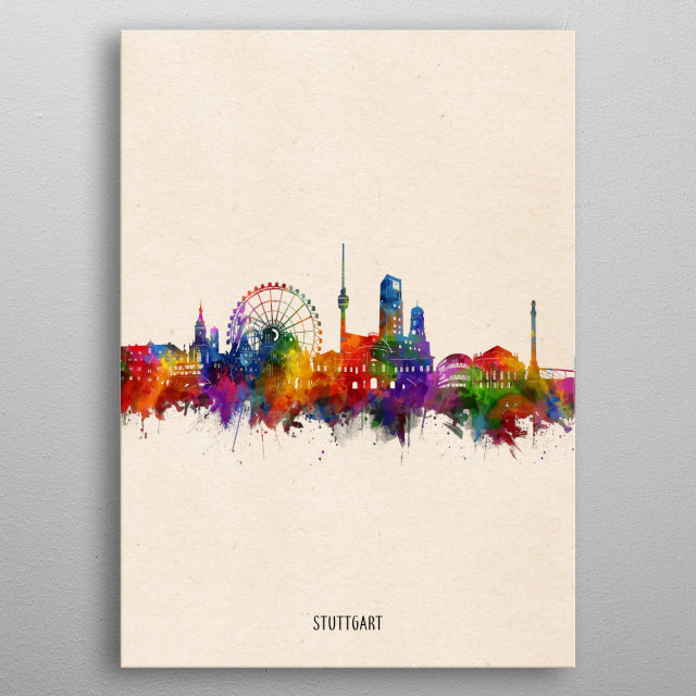 Stuttgart skyline inspired by decorative,watercolor,colorful,pop art design metal poster