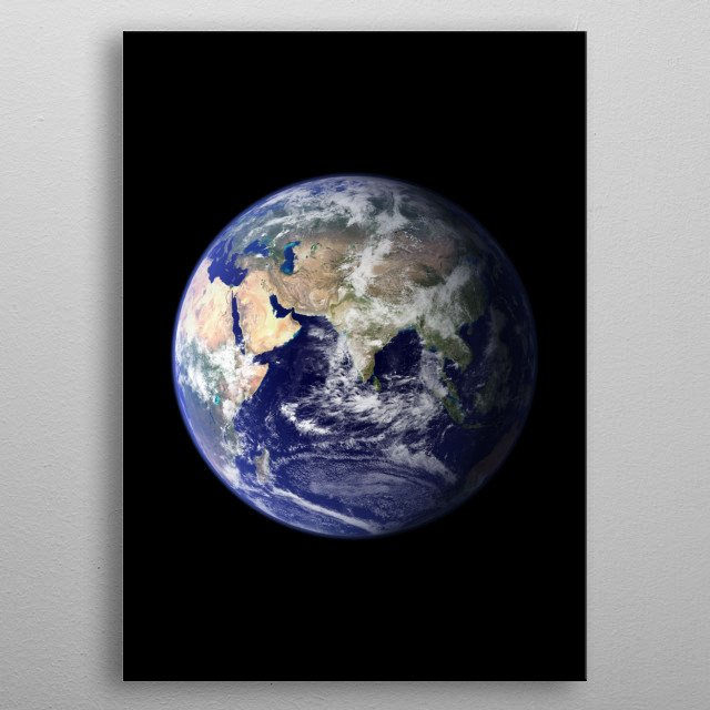 Our planet earth on the eastern hemisphere. metal poster