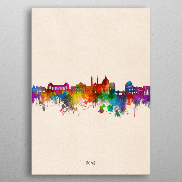 Rome skyline inspired by decorative,watercolor,colorful,pop art design metal poster