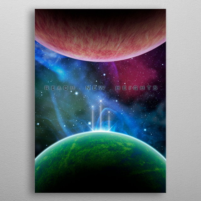 Three space shuttles departing for new strange worlds with text overlay -- the sky is no longer the limit. metal poster