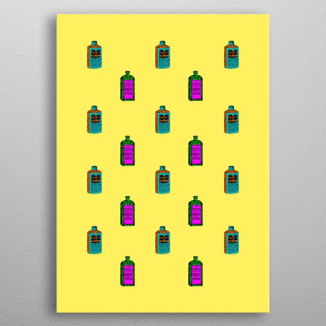 Retro Pattern med. Frankenberg RetroWorks © Frankenberg 2019 Retro, medicin, Bottle, Tabs, brain, health, ill, pain, color, metal poster