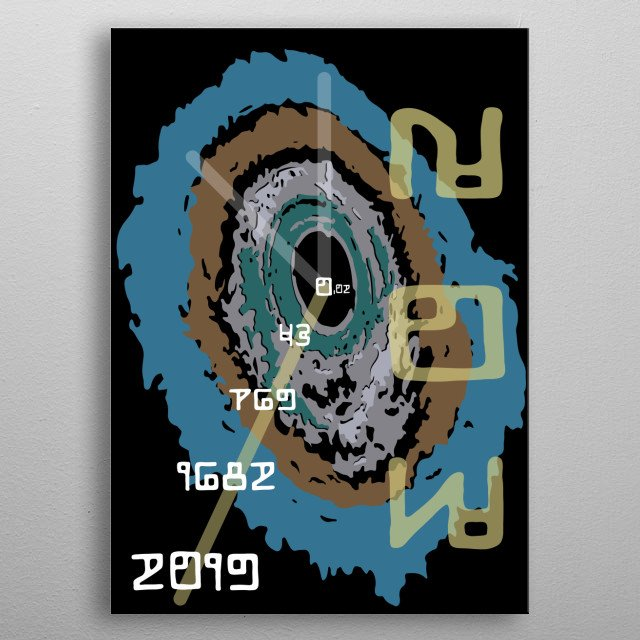 Illustration of Black Hole Clock that shows years at the moment according to the theory of relativity. metal poster