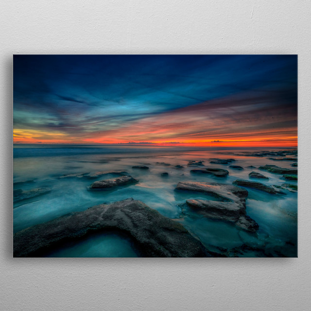 The 'Blue Hour' produces some of the most colorful sunrises and sunsets. metal poster