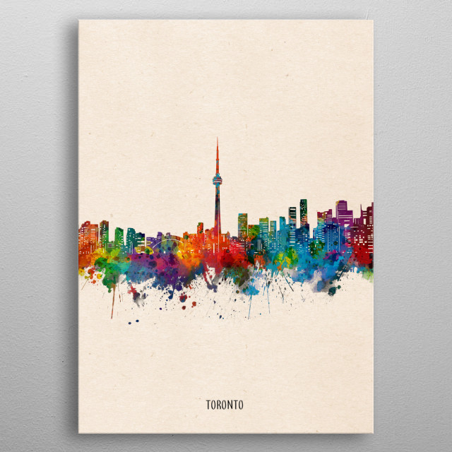 Toronto skyline inspired by decorative,watercolor,colorful,pop art design metal poster
