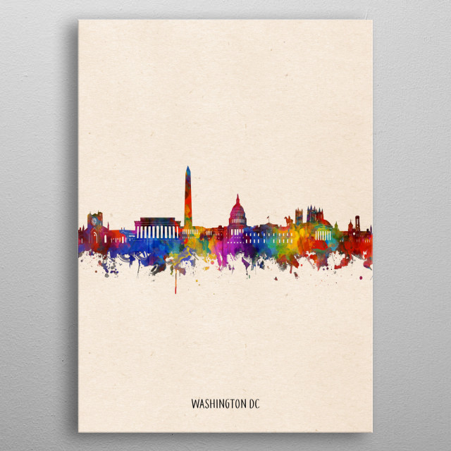 Washington dc skyline inspired by decorative,watercolor,colorful,pop art design metal poster