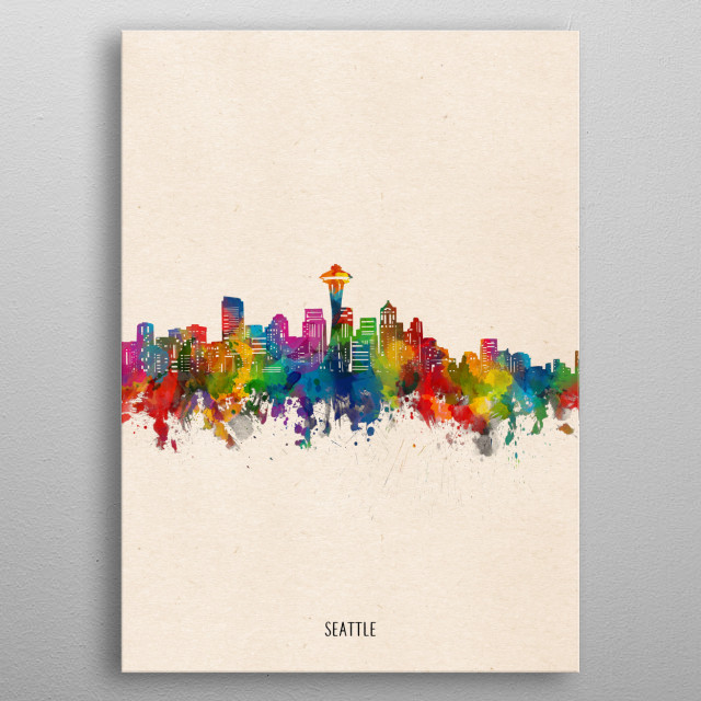 Seattle skyline inspired by decorative,watercolor,colorful,pop art design metal poster