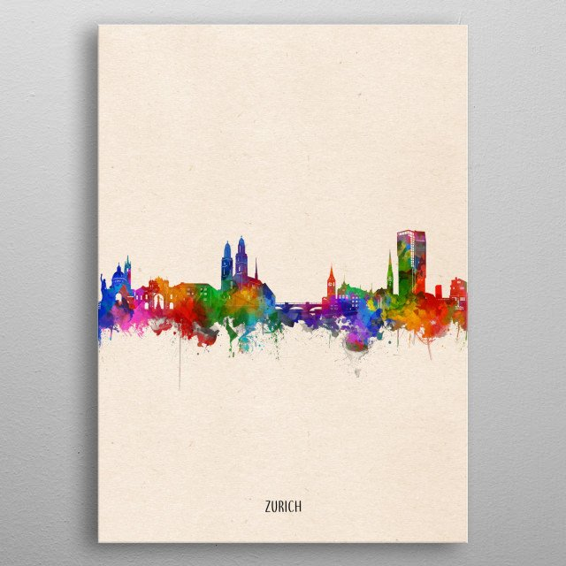 Zurich skyline inspired by decorative,watercolor,colorful,pop art design metal poster