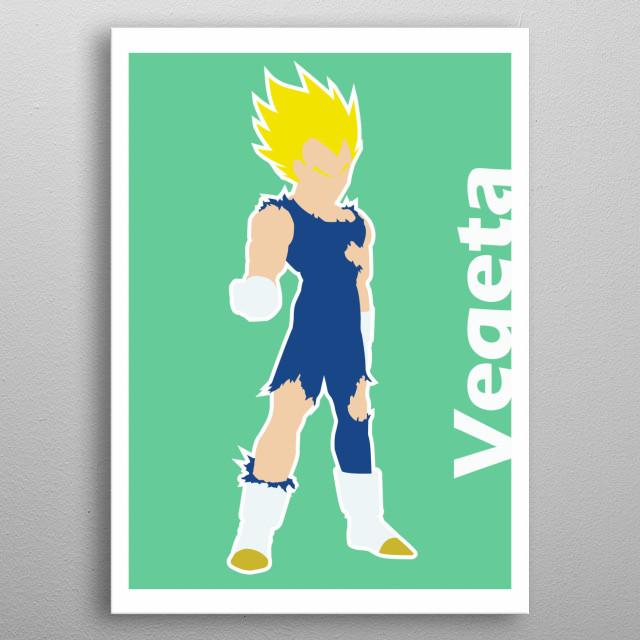 Illustration minimalist of Vegeta metal poster