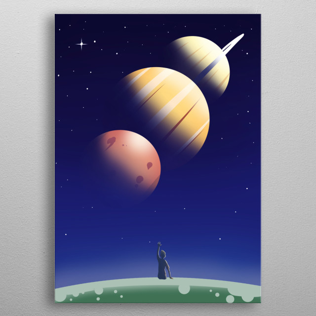 Digital Art of a boy looking at space. metal poster