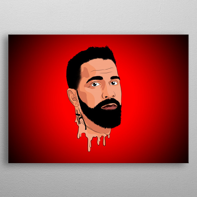 rapper Bushido Portrait Illustration / Sonny Black  metal poster