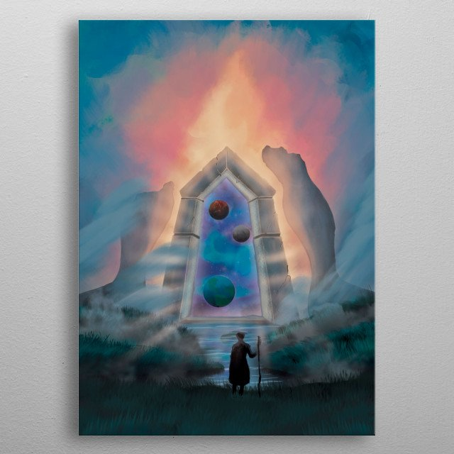 A portal that takes you to distant worlds is open before you metal poster