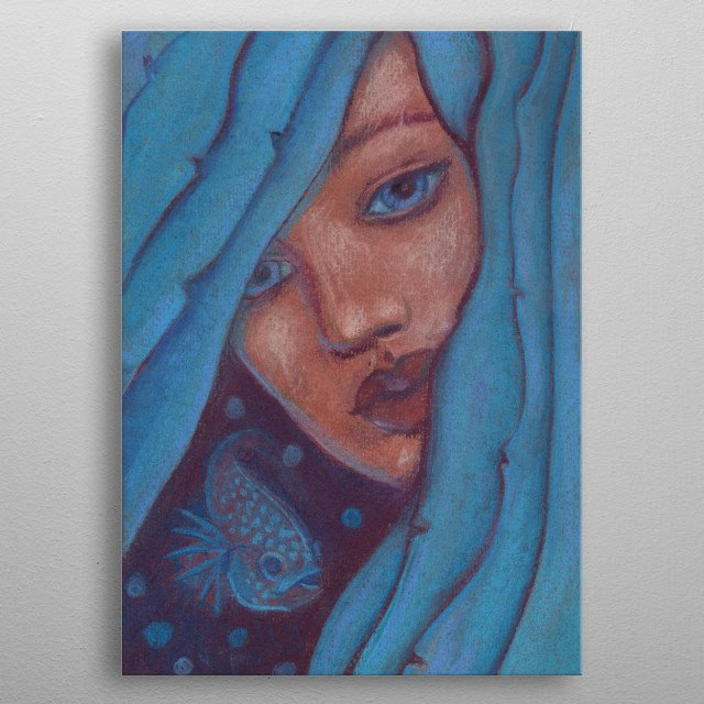 Beautiful girl with blue seaweed hair, little fish floating besides her.  Fantasy art / illustration, pastel painting  metal poster