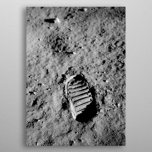 Apollo 11 Lunar Module Pilot Buzz Aldrin's bootprint. metal poster