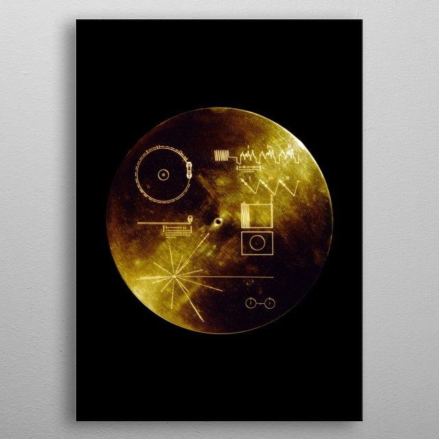 The Voyager Golden Records are two phonograph records that were included aboard both Voyager spacecraft launched in 1977. metal poster