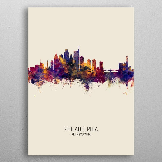 Watercolor art print of the skyline of Philadelphia, Pennsylvania, United States metal poster