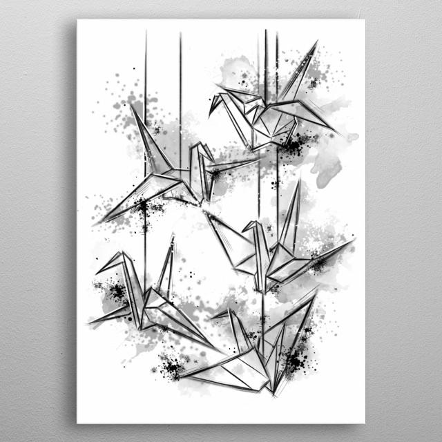 Origami inspired illustration metal poster