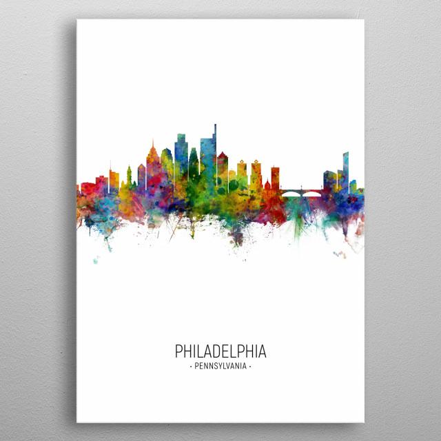 Watercolor art print of the skyline of Philadelphia, Pennsylvania, United States metal poster