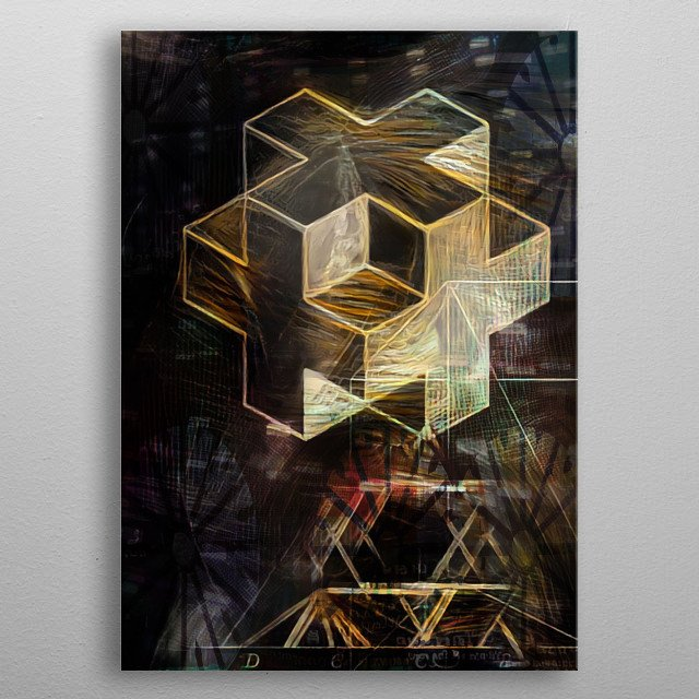 Abstract Cube. Mathematical journey of presentation of 3 spatial dimensions. metal poster