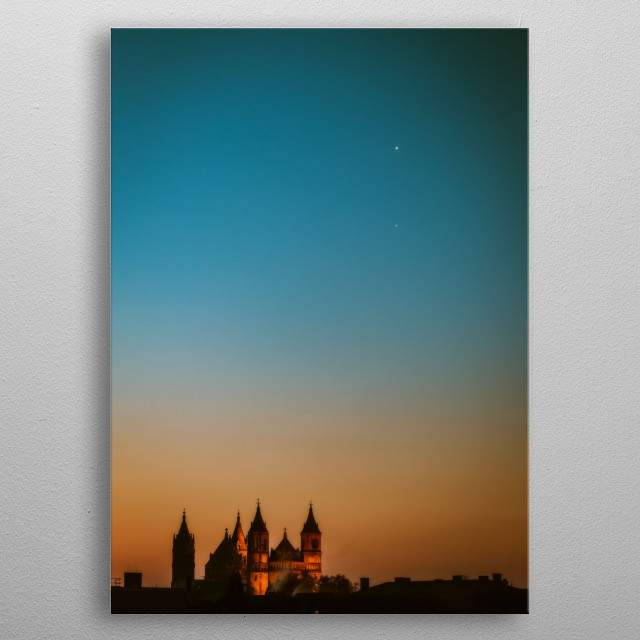 Venus and Jupiter above the Cathedral of Worms, Germany 2019/01/21 metal poster
