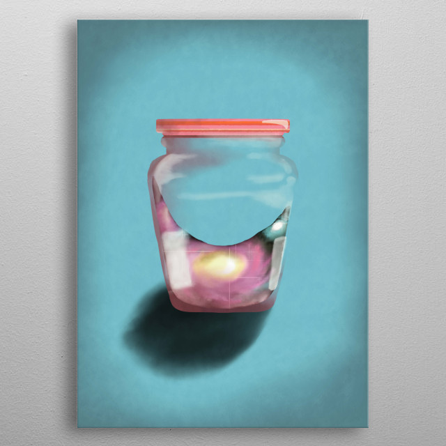 This composition consists of a jelly bottle whose contents are a set of stars dust clouds metal poster