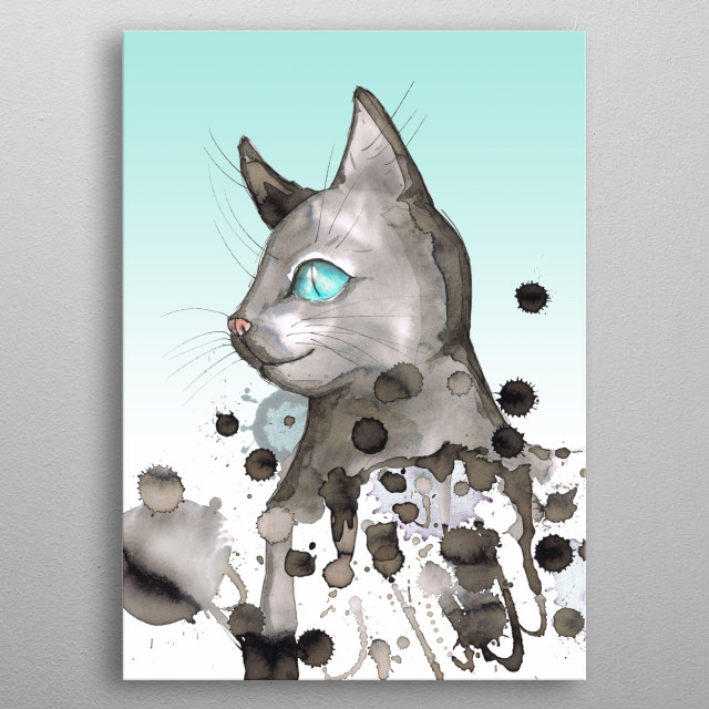 A wild watercolor of a gray cat with blue eyes. The cat looks friendly. With wild drippings and a digitally added background. metal poster