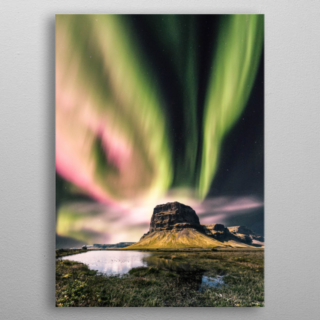 Red and green aurora  metal poster