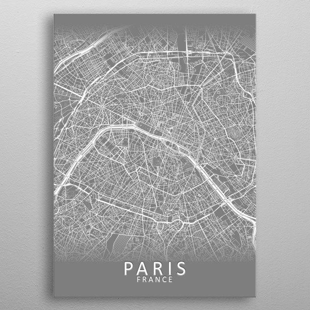 A grey city map illustration of the French capital city Paris with a subtle 3D effect metal poster