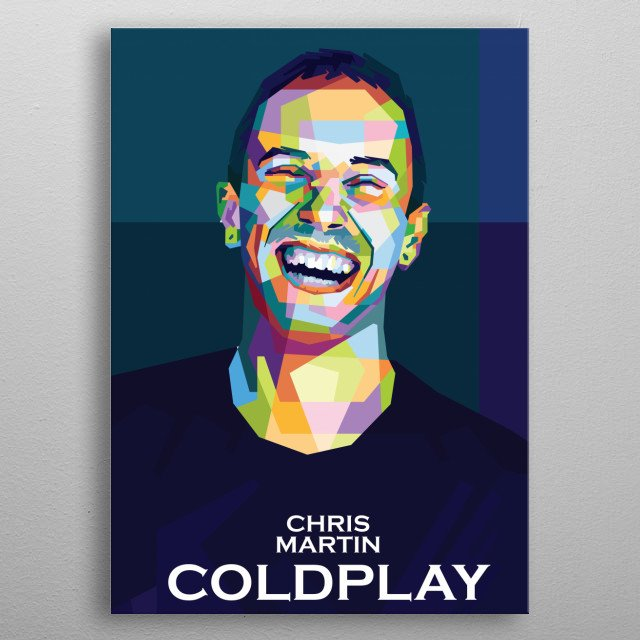 Colorful WPAP illustration of Coldplay Personel,Chris Martin metal poster